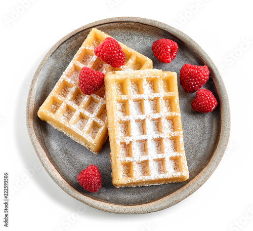 two waffles on ceramic plate