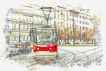 Watercolor Sketch Or Illustration Of A Traditional Old Tram Moving Along A Street In Prague In The Czech Republic.