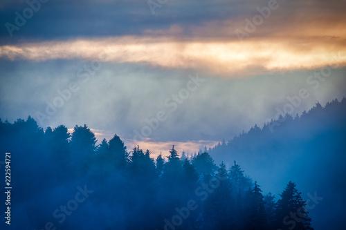 Abendrot bei Nebel im Schwarzwald
