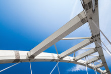 Cable-stayed Bridge Fragment Under Blue Sky
