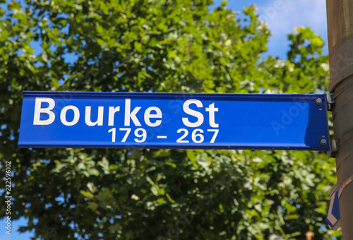 Poster Oceanië Bourke Street Melbourne Australia. Burke street is one of the most important shopping streets in Melbourne - Australia's second largest city and capital of Victoria.