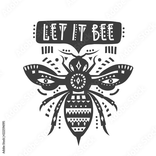 "Photo  Vector illustration with black patterned bee and lettering ""Let it bee"""