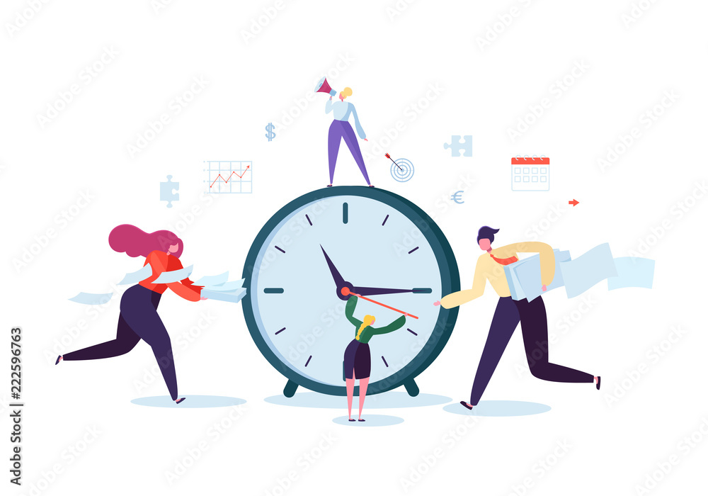 Fototapeta Time Management Concept. Flat Characters Organization Process. Business People Working Together Team Work. Vector illustration