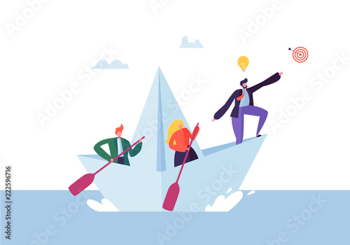 Fotografía  Business People Floating on a Paper Ship