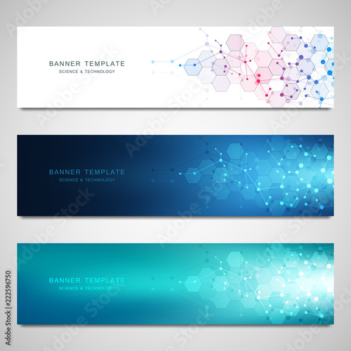 Fototapeta Vector banners design for medicine, science and digital technology. Molecular structure background and communication with connected lines and dots. obraz