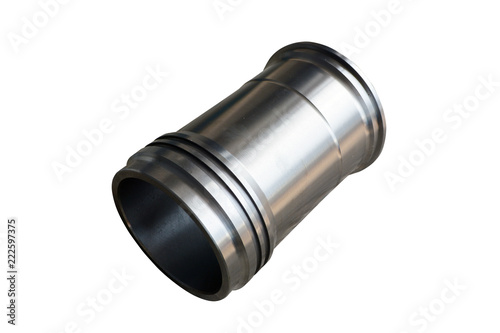 Fotografia engine cylinder liner close up on isolated white background