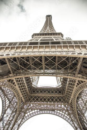 Deurstickers Eiffeltoren Bottom view of famous Eiffel Tower in Paris, France