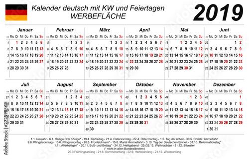 kalender 2019 neutral wei quer deutsch mit feiertagen buy this stock vector and. Black Bedroom Furniture Sets. Home Design Ideas