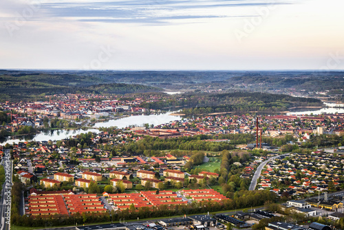 Obraz na plátně Silkeborg city in Denmark seen from above
