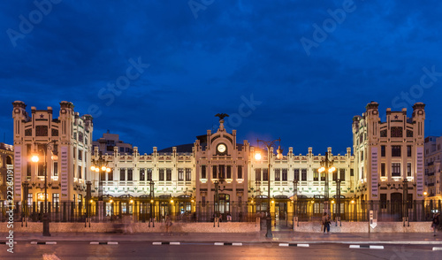 Foto op Canvas Noord Europa North Station most important train station in Valencia rail transport, Estacion del Norte Spain wide angle, city lights lighting, night view panorama