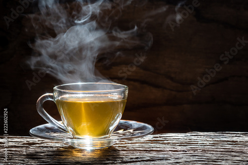 Stickers pour porte The Hot tea cup on wood background
