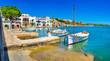 canvas print picture - Panorama Anblick alter Fischer Hafen Boote in Porto Colom auf Mallorca, Spanien Balearen Insel