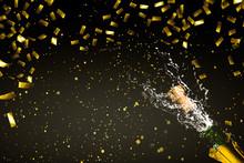 Champagner Im Goldenen Konfettiregen