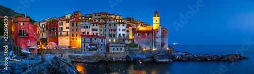 Panorama of night landscape with old scenic sea village Tellaro in La Spezia pro Canvas