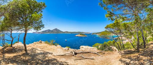 Recess Fitting Panorama Photos Panoramic view of coast in Sant Elm with natural landmarks Sa Dragonera and Es Pantaleu islands