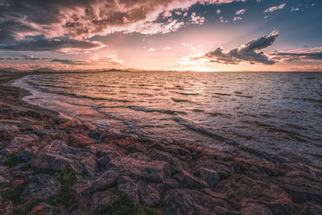 Fototapeta sunset over the sea