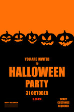 Invitation To Halloween Party With Bat, Vector Illustration