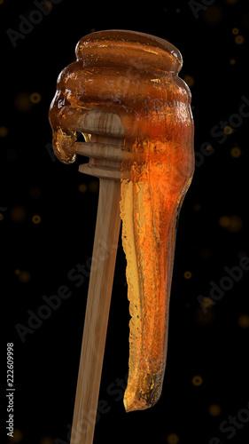 Honig Luft Hinab An Einem Honiglffel Holzstab