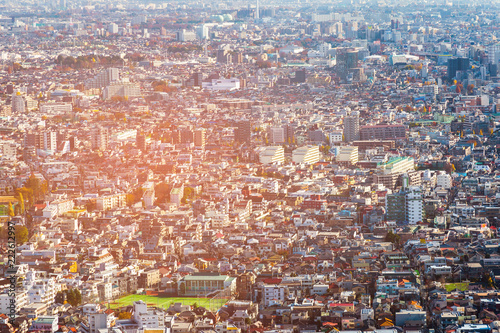Poster Stad gebouw Crowded Tokyo cityscape background aerial view, .Japan central business downtown