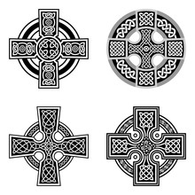 Set Of Decorative Celtic Crosses