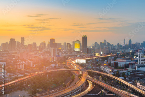 Poster Stad gebouw Bangkok city business downtown with sunset skyline, cityscape background