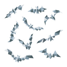 Collection Of Polygonal Bats Geometric Vector Bat Illustration Isolated On White Background.