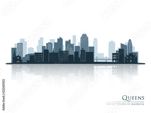 Queens, New York blue skyline silhouette with reflection Canvas Print