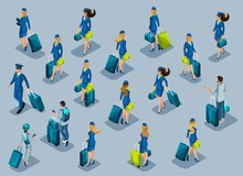 Isometry Of Passengers, Stewardess Girl, Pilots, Recruitment Of People At The International Airport. People Hurry With Suitcases, Front View Back View