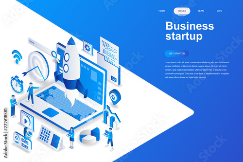 Photo  Business startup modern flat design isometric concept