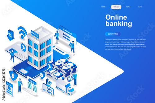 Online banking modern flat design isometric concept Tableau sur Toile