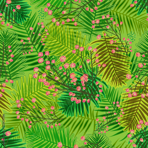 Ingelijste posters Tropische Bladeren cool vibrant overlapping pattern tile with forest leaves and blossoms. botanical seamless pattern tile for textile, fabric, backgrounds, decor, wallpapers, backdrops and creative surface designs
