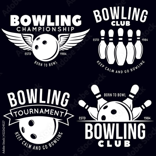 Slika na platnu Set of vector vintage monochrome style bowling logo, icons and symbol