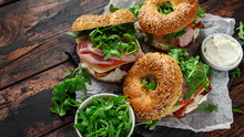 Fresh Bagels Sandwiches With C...