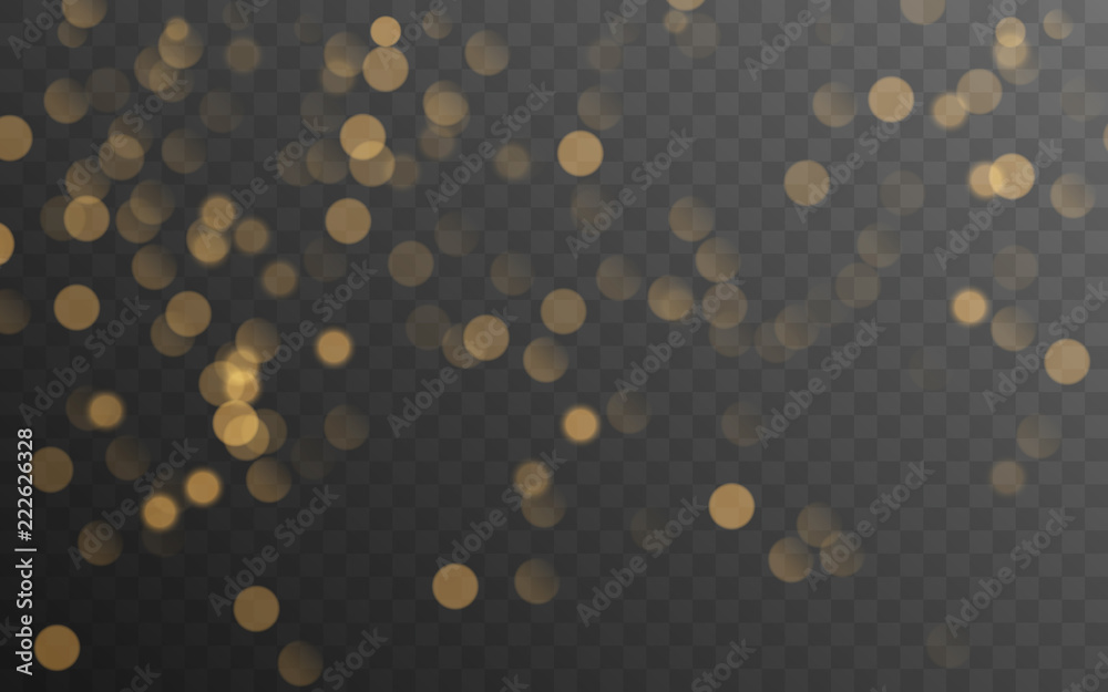 Fototapeta Abstract golden shining bokeh isolated on transparent background. Decoration or christmas background.