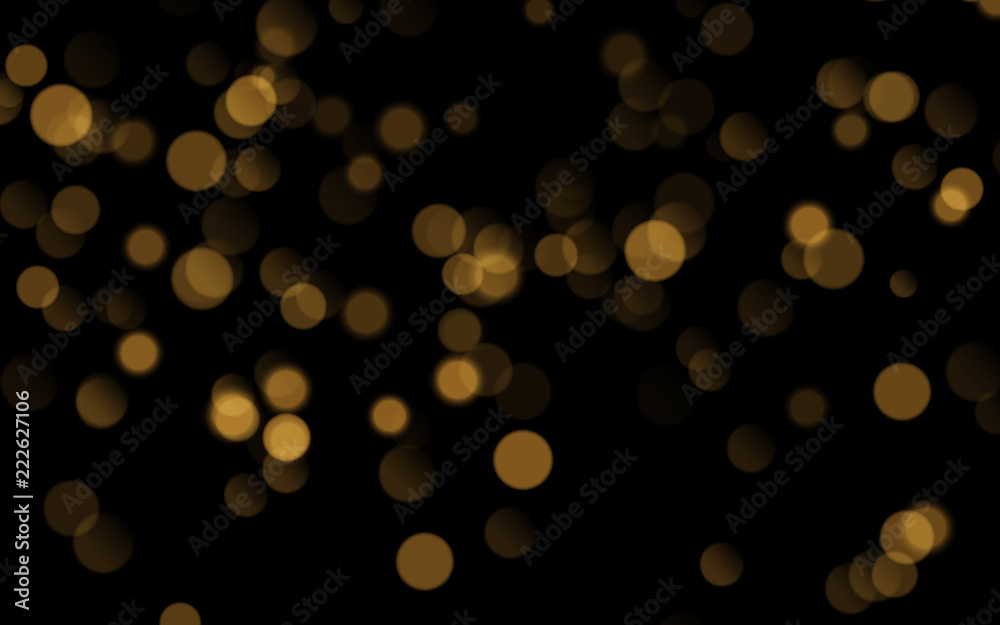 Fototapety, obrazy: Abstract golden shining bokeh isolated on black background. Decoration or christmas background.