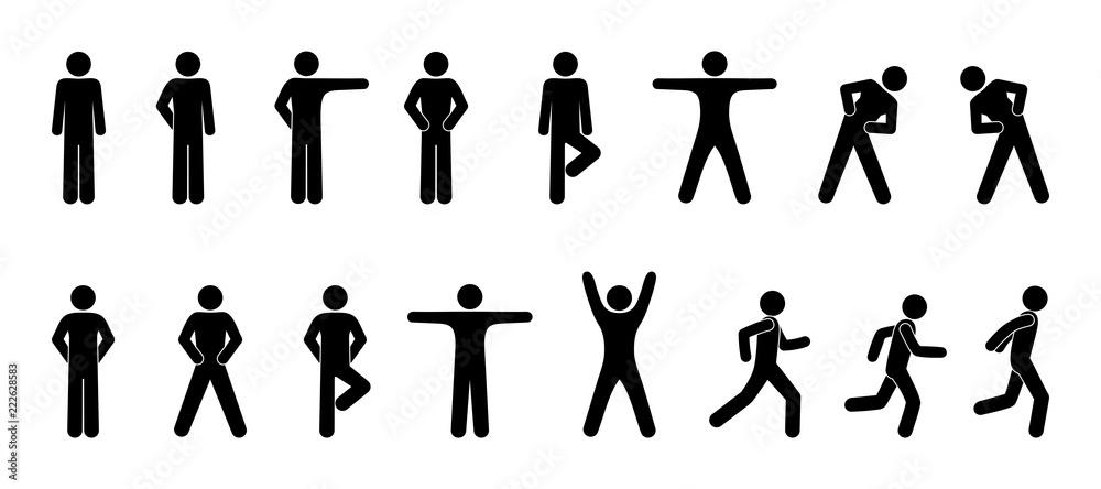 Fototapeta stick figure, set of icons people, basic movement, man poses, pictogram human silhouettes