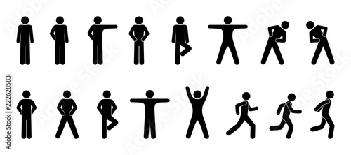Fototapeta stick figure, set of icons people, basic movement, man poses, pictogram human silhouettes obraz