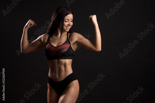 Athletic sexy black muscle women
