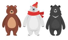 Set Of Three Different Bears