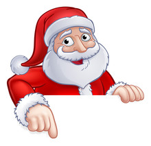 Santa Claus Christmas Cartoon Character Above A Sign Pointing At It