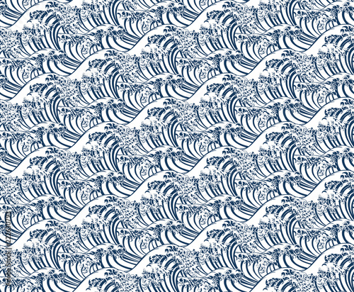 Valokuva  A Japanese great wave seamless pattern print, single color.