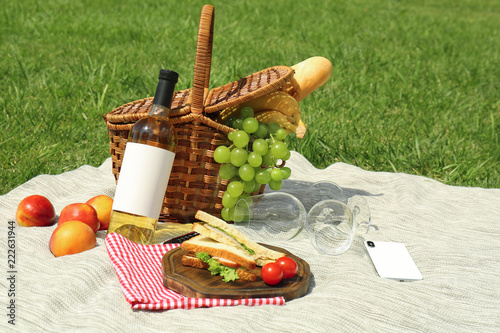 Basket with food and wineglasses on blanket prepared for picnic in park