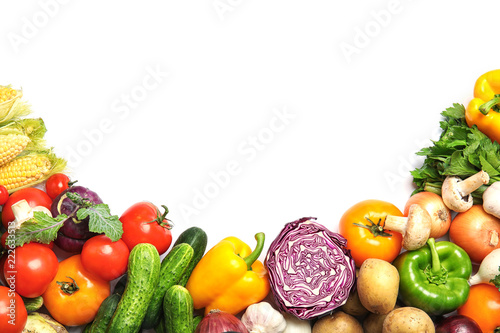 Poster Groenten Assortment of fresh vegetables on white background, top view. Space for text