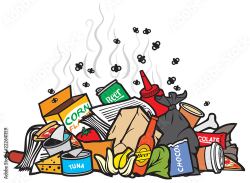 Photo pile of garbage vector illustration