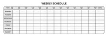 Weekly Schedule With Working Hours And Extra Space For Notes