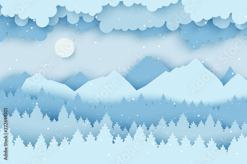 Fotobehang Lichtblauw Paper Christmas postcard with winter landscape with pine trees, fluffy clouds, mountains and snowflakes. Modern layered paper art style background. Vector illustration