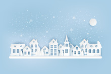 Winter Urban Countryside Landscape, Village With Cute Paper Houses, Pine Trees And Snow. Merry Christmas And New Year Paper Art Background