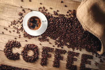 Fototapeta Do kawiarni World of Coffee - fresh roasted coffee beans conceptual background