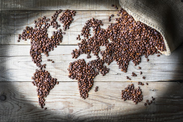 Panel Szklany Do kawiarni World of Coffee - fresh roasted coffee beans conceptual background