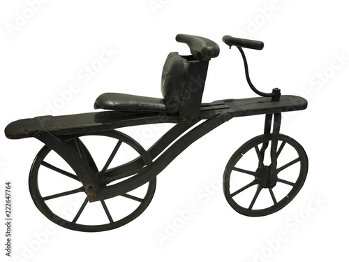 Foto op Canvas Fiets Vintage old retro bicycle isolated on white background